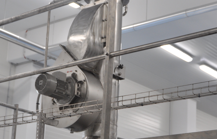 Extraction blower for forced steam exhaust from the baking chamber - tunnel oven Alitech